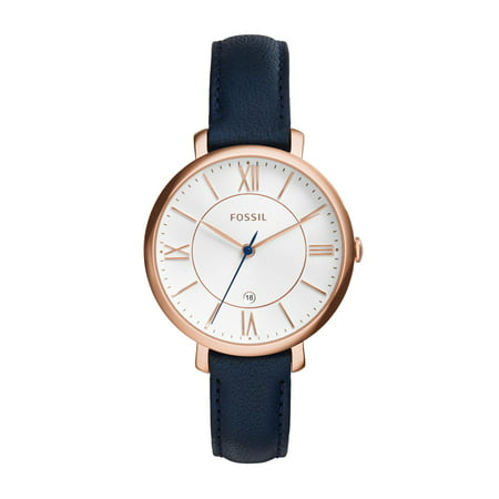 Fossil Women's Jacqueline Three-Hand Blue Leather Band Watch (Style: ES3843) (Fossil Watch Color)