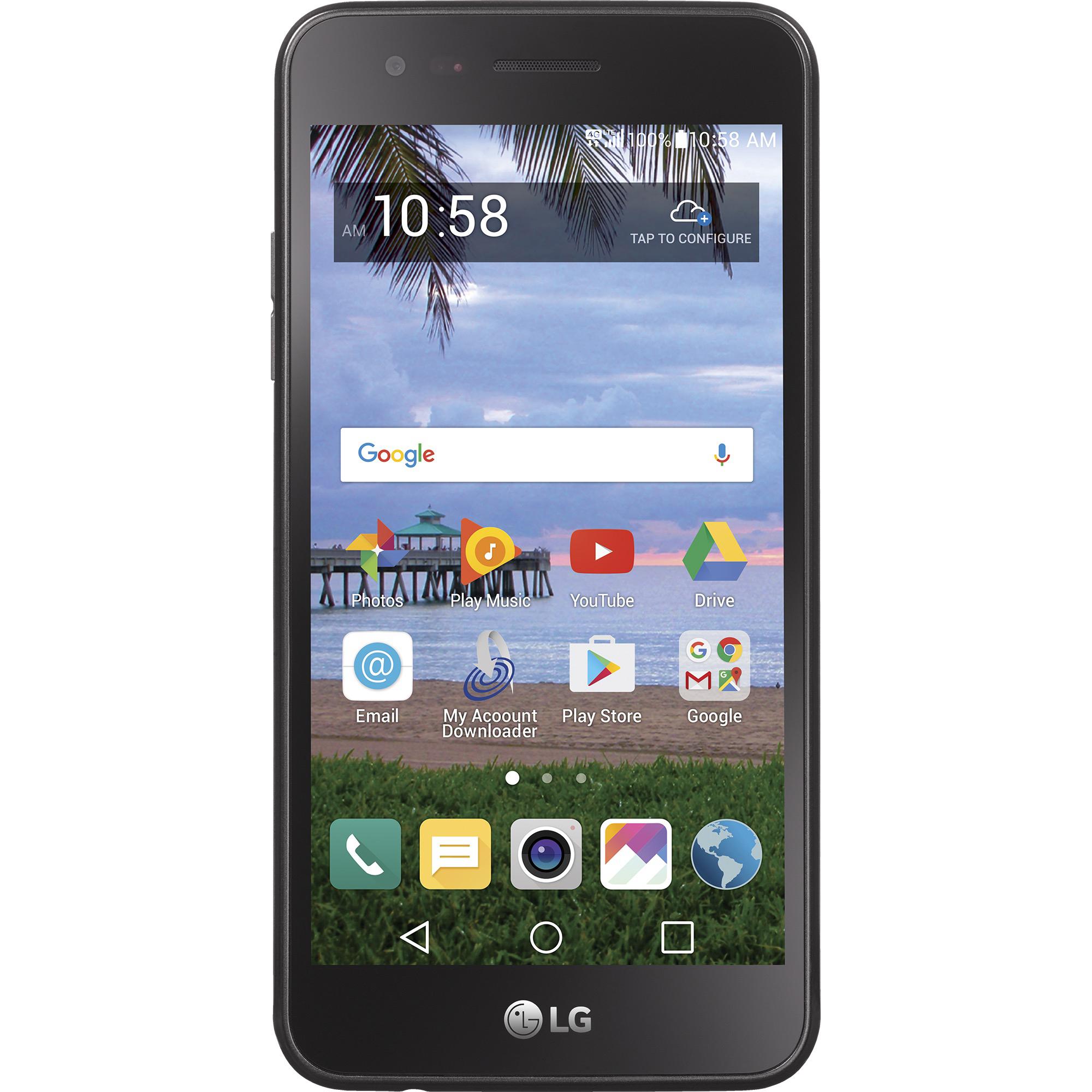 Refurbished LG STLGL58VCP Rebel 2 4G LTE Straight Talk Prepaid Smartphone - Black