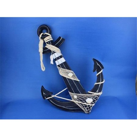 Handcrafted Model Ships Blue-Anchor-24 Wooden Rustic Blue Anchor With Hook Rope and Shells 24 in. Decorative Accent