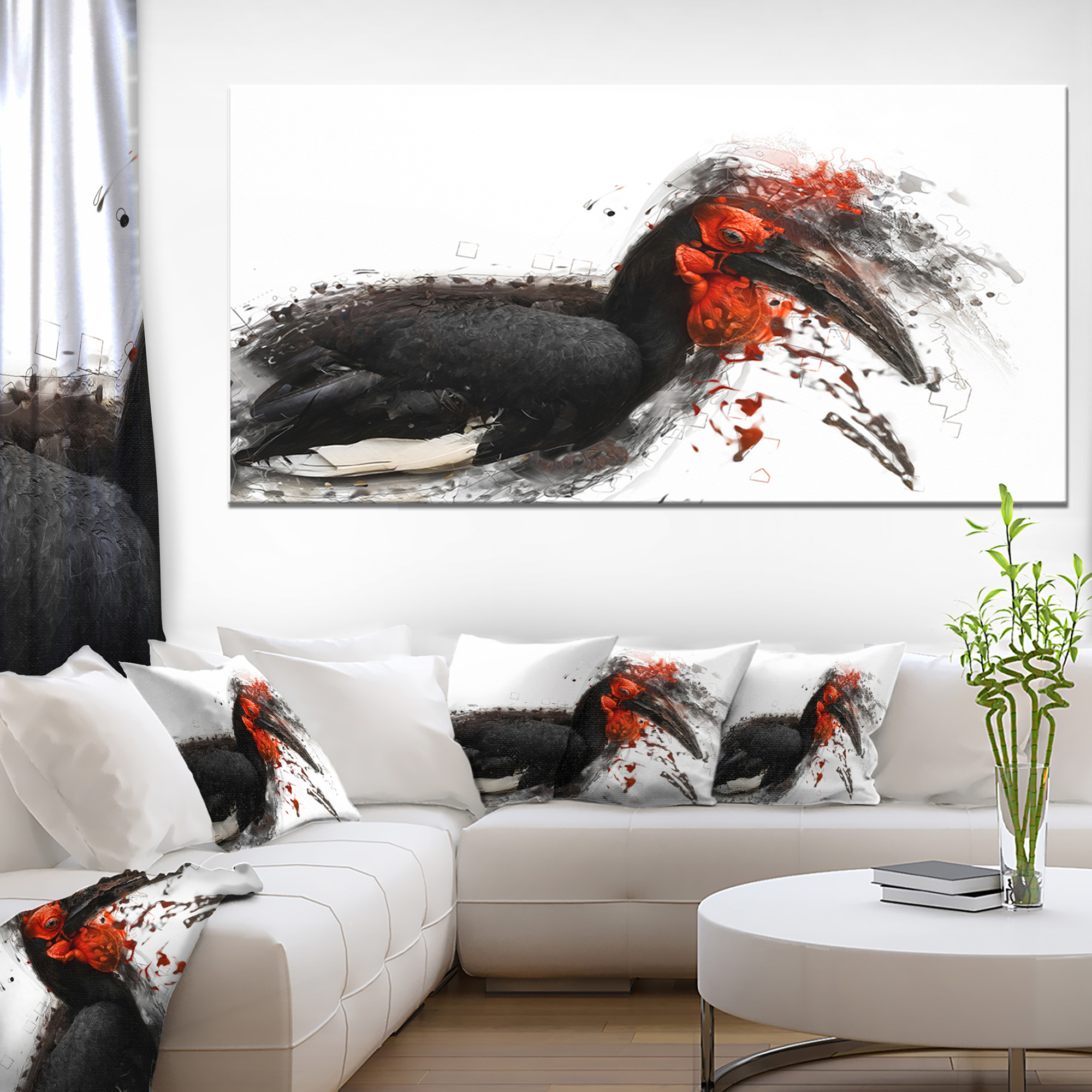 relaxing large exotic bird animal canvas wall art