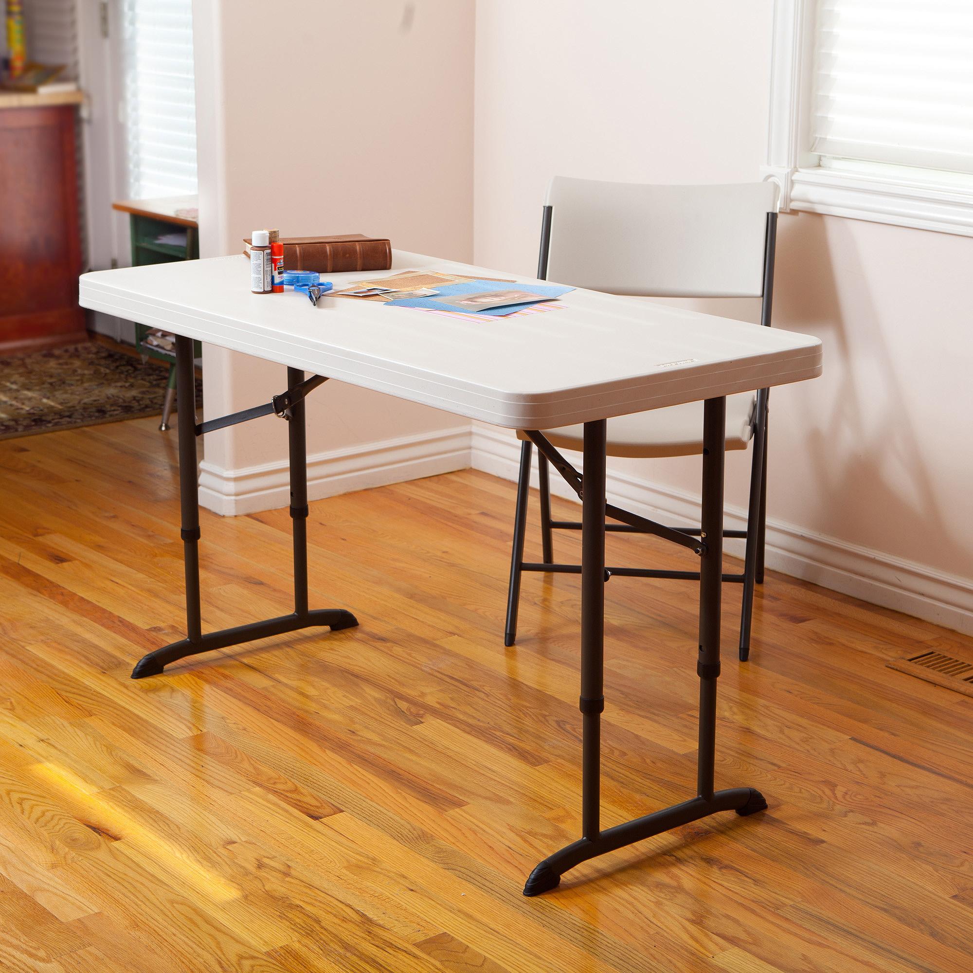 Lifetime 4' Adjustable Folding Table, White Granite