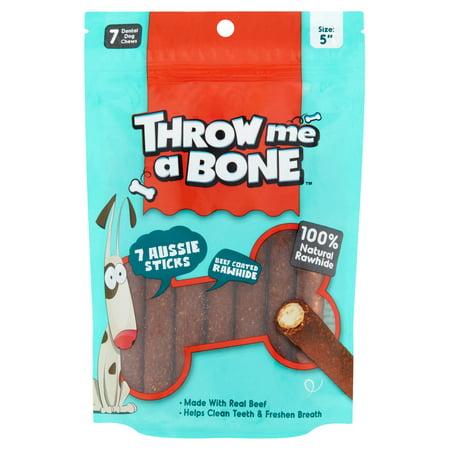 Throw Me A Bone 5  Beef Coated Rawhide Dental Dog Chews  7 Pack