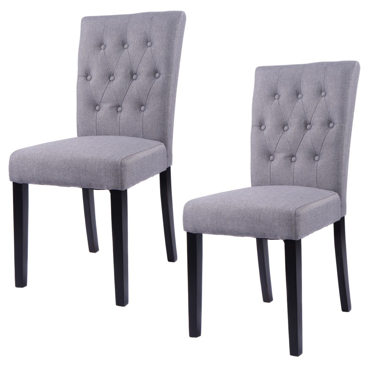 Costway Set of 2 Fabric Dining Chair Armless Chair Home