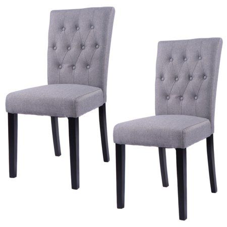 Costway Set Of 2 Fabric Dining Chair Armless Chair Home Kitchen Living Room Furniture