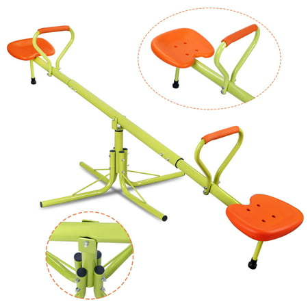 Playground Seesaw (Zeny Kids Seesaw Swivel Teeter-Totter Home Playground Equipment, 360 Degrees Rotating Safe, Outdoor Fun for Kids, Toddlers, Boys,)