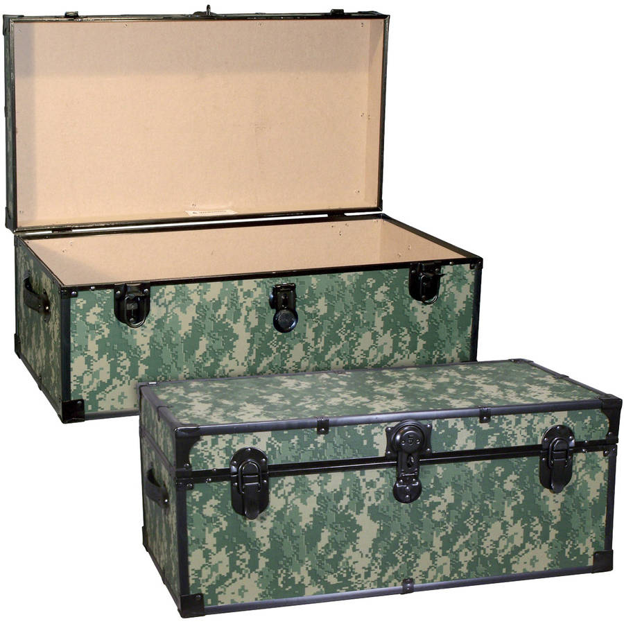 Seward Trunk Barracks Footlocker Trunk 25 Gal. Wood Storage Box with Handles, ACU Camo