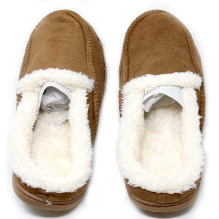 Winter Memory Foam Moccasins Slippers Unisex Soft Fur Fluffy Comfort Support Winter Indoor Outdoor Lightweight Stylish Temperature Sensitivity Gift Box Included Christmas Thanksgiving-Brown (Medium)](Fluffy Slipers)