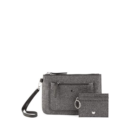 BCBGeneration Hannah Double-Zip Wristlet Pouch + Key Ring ID Holder ()