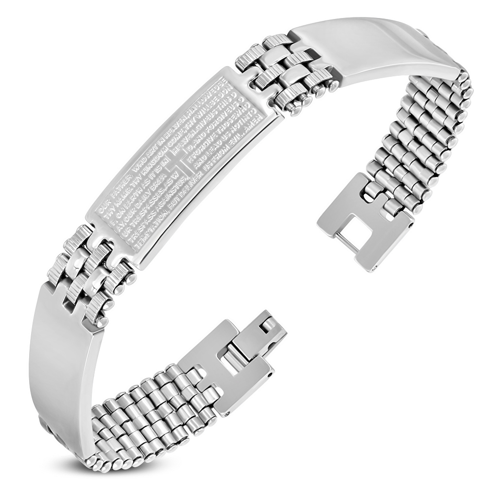 Stainless Steel Silver-Tone Lords Our Father Prayer English Mens Bracelet
