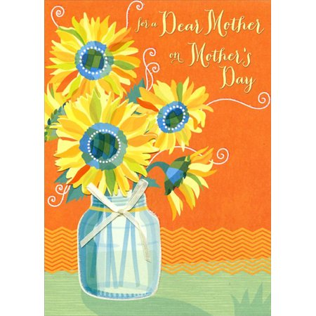 Designer Greetings Sunflower Jar with White Ribbon: Mother Premier Collection Mother's Day Card ()
