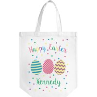 """Personalized Happy Easter Cotton Tote Bag, Sizes 11"""" x 14"""" and 14.5"""" x 18"""""""