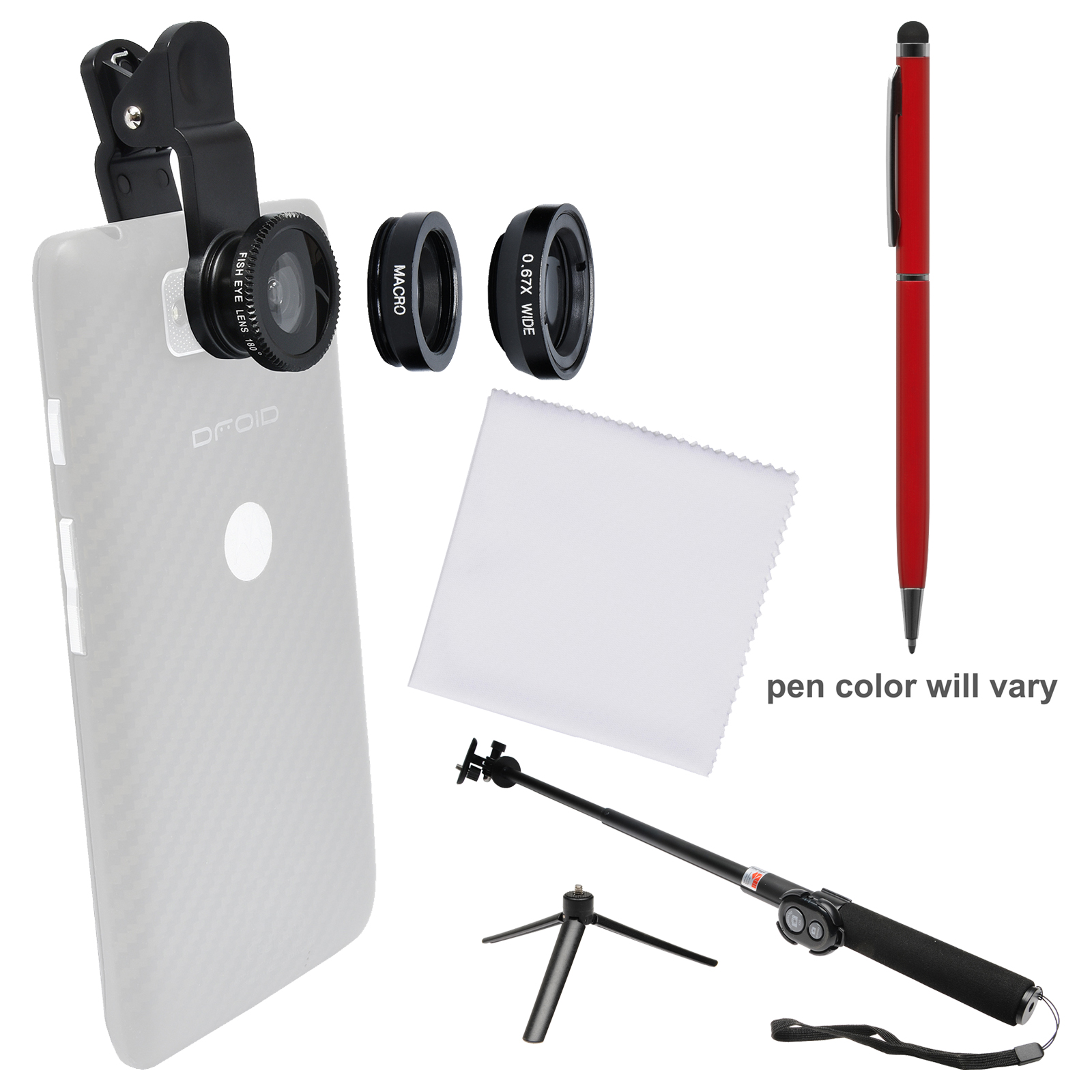Zuma 3-in-1 Clip-on Fisheye, Macro & .67x Wide-Angle Lens Set for Smartphones & Tablets with Selfie Stick + Stylus Pen + Cleaning Cloth + Kit