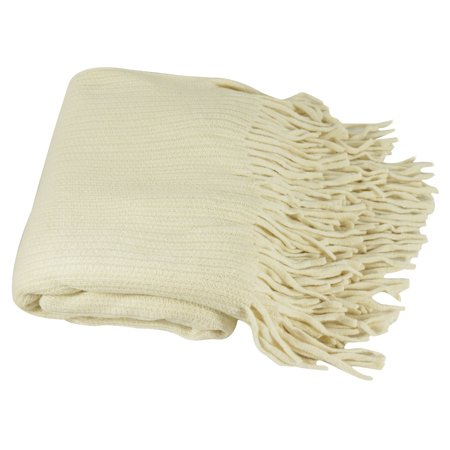 - Deluxe Knitted Throw Blanket Women Poncho Shawl Warm Fashion Cloak Cape Large Wrap Stylish Winter Long Scarf w/ Fringes TH024 Ivory