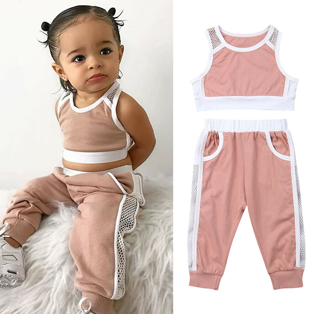 Baby Girls Matching Clothing Set 3PCS Tops Vest Pants Layette Set 0-24 Months Spring//Summer