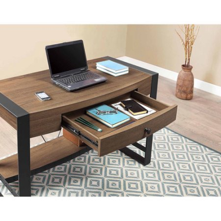 Whalen Santa Fe Writing Desk With Center Drawer Warm Ash Finish