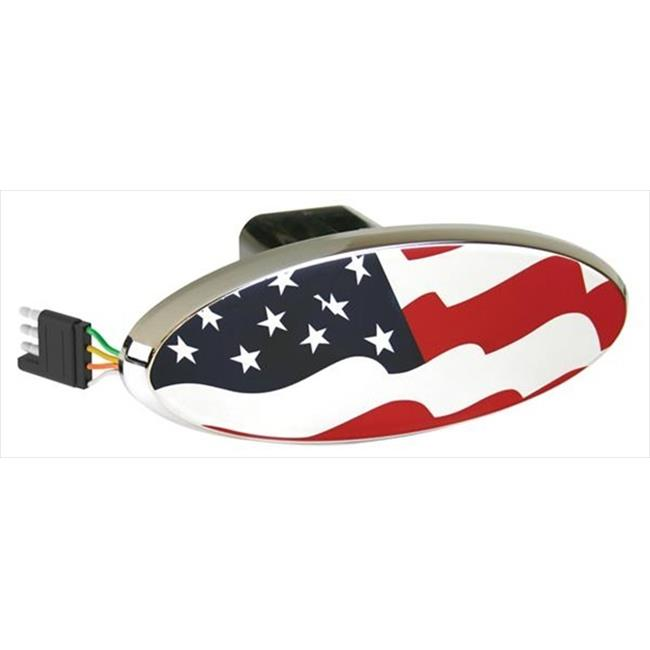 HIGHLAND 8652455 Chrome Plated Trailer Hitch Cover - Us Flag