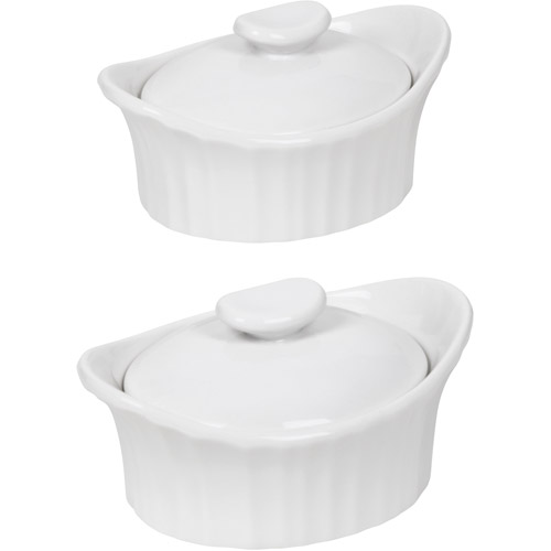 CorningWare French White III Dessert Baker with Ceramic Lid, Set of 2