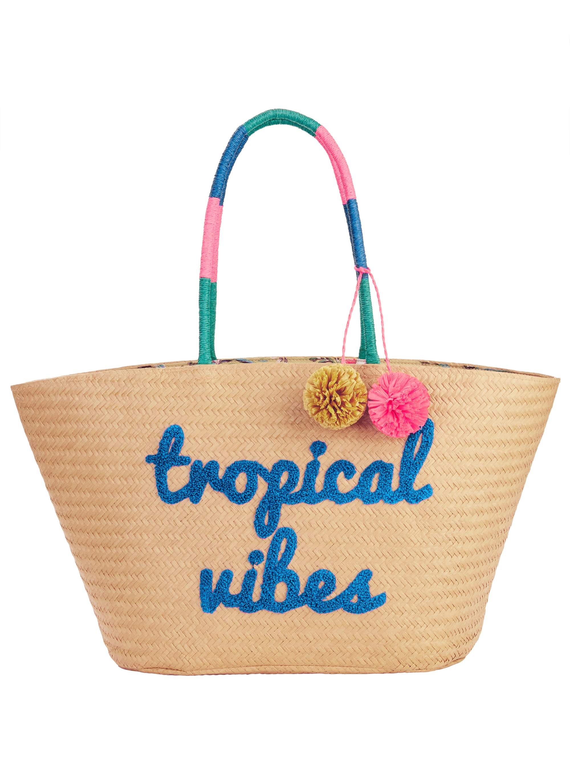 "Time & Tru ""Tropical Vibes"" Large Straw Tote"