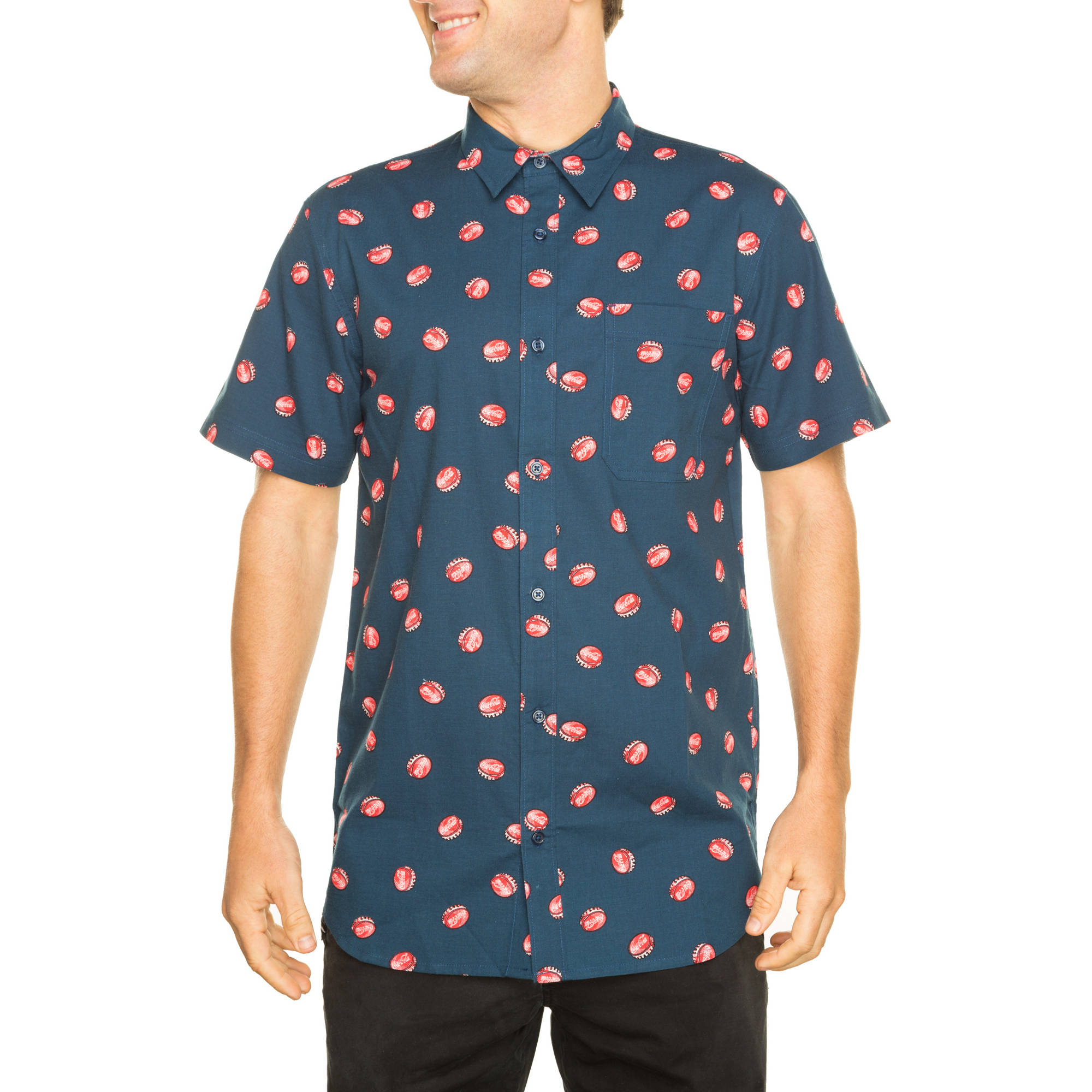 Coca Cola All Over Printed  Big Men's Short Sleeve Woven Shirt