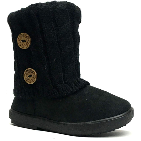Infant Toddler Girls Winter Casual Button Faux Fur Lining Suede Boots Shoes USA SELLER *Black *Cozy -12