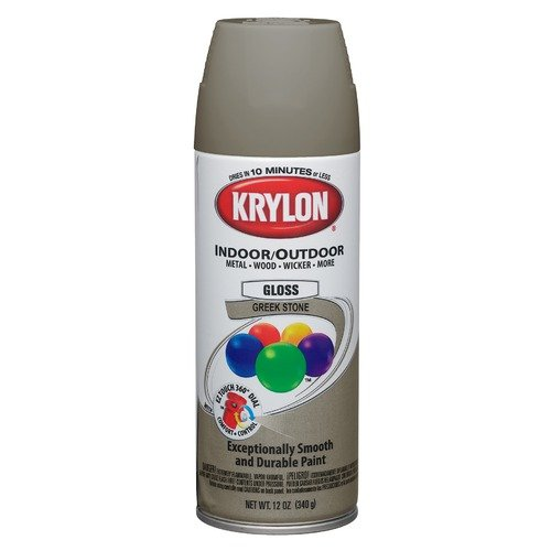Krylon 12 Oz Greek Stone Gray Gloss Indoor & Outdoor Spray Paint 53542 (Set of 6)