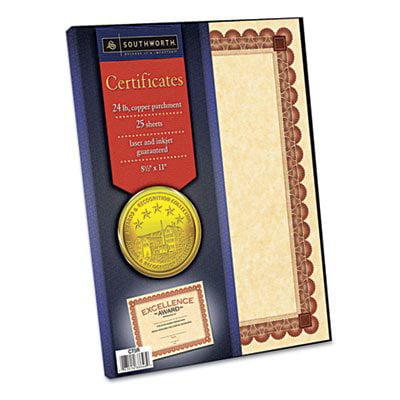 Southworth Ct5r Parchment Certificates  Copper