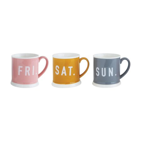 3R Studios Fri Sat and Sun Weekend Stoneware Mugs - Set of