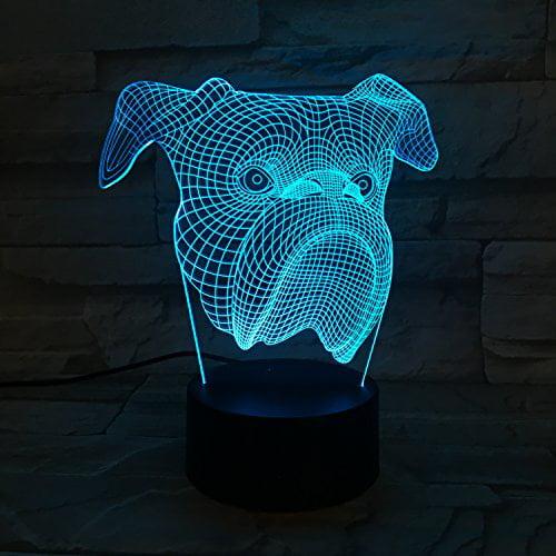 LE3D 3D Optical Illusion Desk Lamp/3D Optical Illusion Night Light, 7 Color LED 3D Lamp, Bulldog 3D LED For Kids and Adults, Bulldog Light Up