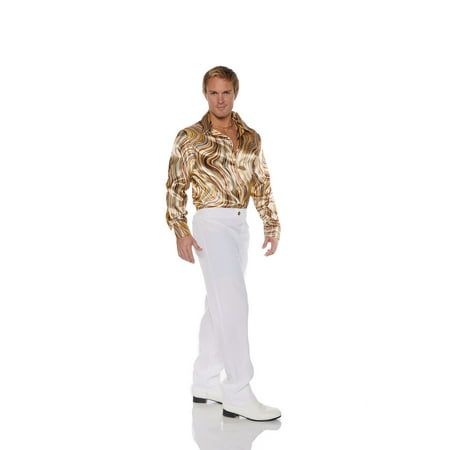 Disco Mens Adult Brown Swirl 70S Costume Accessory Shirt - Mens 70s Disco Costumes