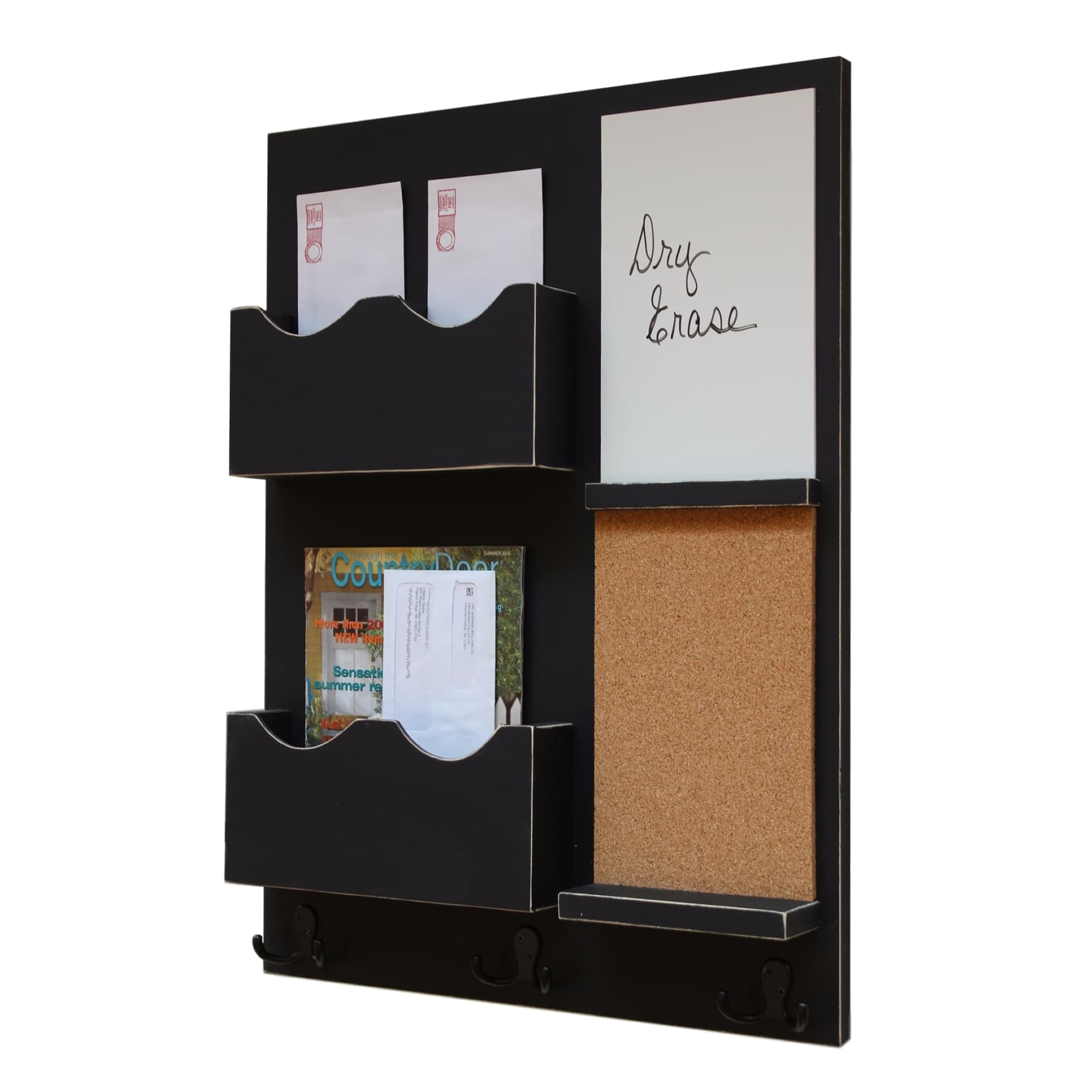 Mail Organizer With Cork Board, Whiteboard, Coat Hooks U0026 Double Mail Slots