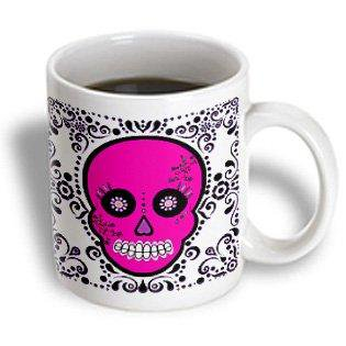 3dRose Day of the Dead Skull D?a de los Muertos Sugar Skull Pink White Black Scroll Design, Ceramic Mug, 15-ounce (Diy Scroll)
