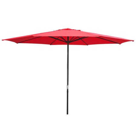 Yescom 13' Aluminum Patio Market Umbrella Sun Shading Outdoor Garden Beach Red ()