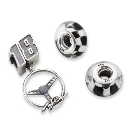 Kyle Busch  18 Two Checkered Flag   Driver Number Steering Wheel Silver Beads