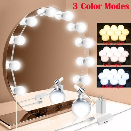 Hollywood Style LED Vanity Mirror Lights Kit with 10 Dimmable Light Bulbs for Makeup Dressing Table and Power Supply Plug in Lighting Fixture Strip – Vanity Mirror Light –