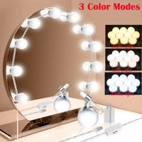 Hollywood Style LED Vanity Mirror Lights Kit with 10 Dimmable Light Bulbs for Makeup Dressing Table and Power Supply Plug in Lighting Fixture Strip  Vanity Mirror Light  White