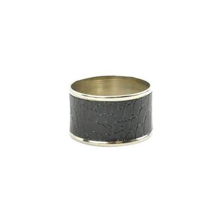 BLACK CROC NAPKIN RING SET OF 4