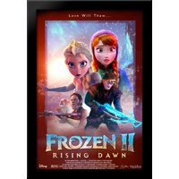Frozen II Rising Dawn 28x40 Large Black Wood Framed Print Movie Poster Art