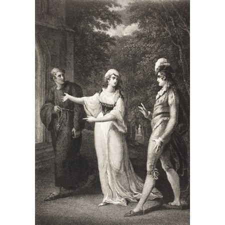 Twelfth Night Or What You Will Act Iv Scene Iii OliviaS Garden Sebastian Olivia And Priest From The Boydell Shakespeare Gallery Published Late 19Th Century After A Painting By William Hamilton Rolled