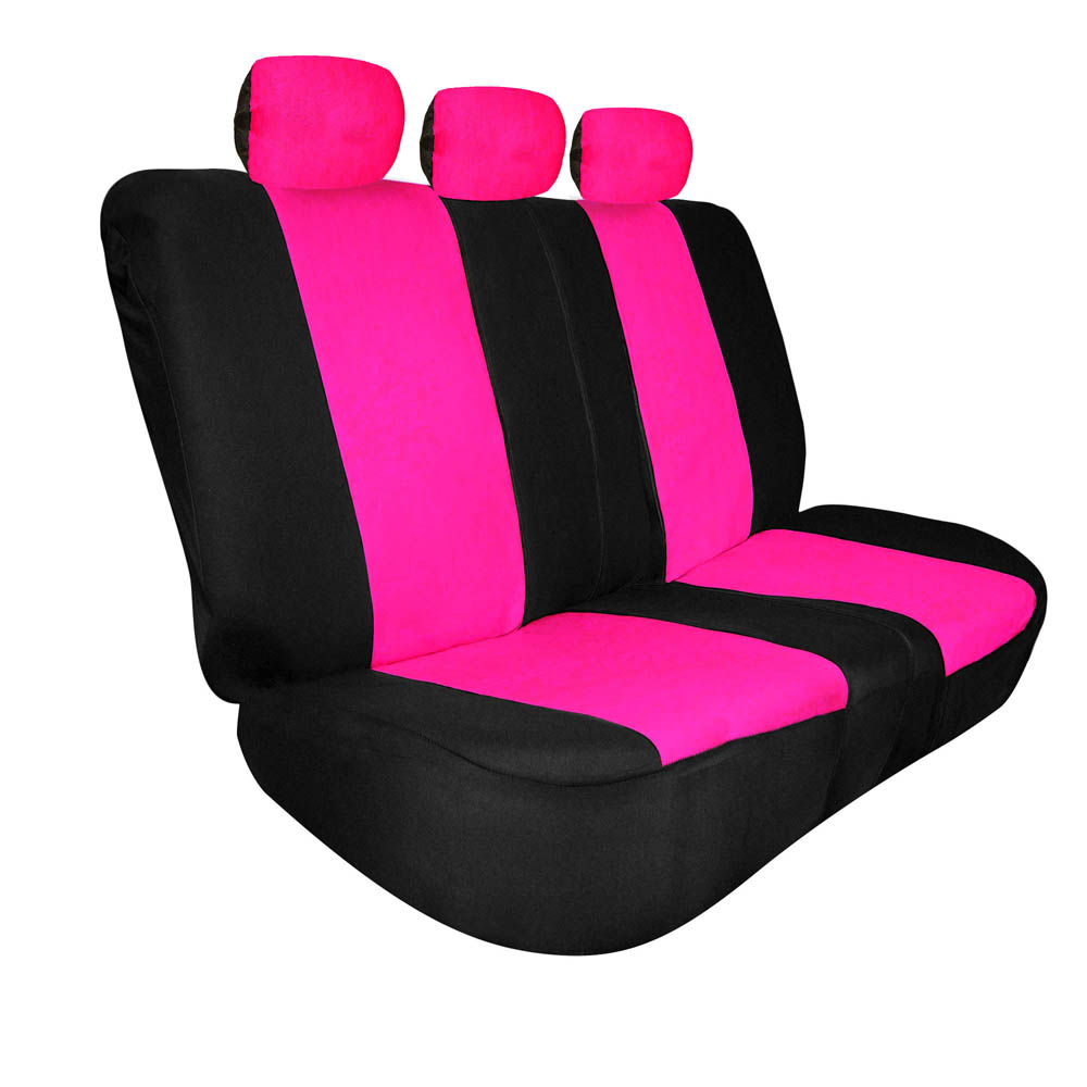 FH Group Universal Fit Full Coverage Split Bench Cover for Trucks Suvs Vans, Pink and Black