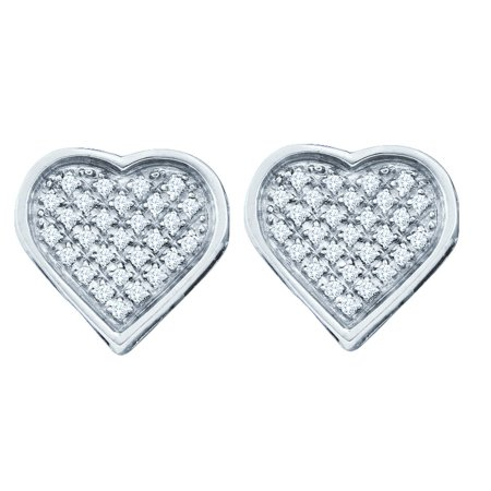 Sterling Silver White Diamond Concave Womens Heart Screwback Stud Earrings Small Dainty (.10
