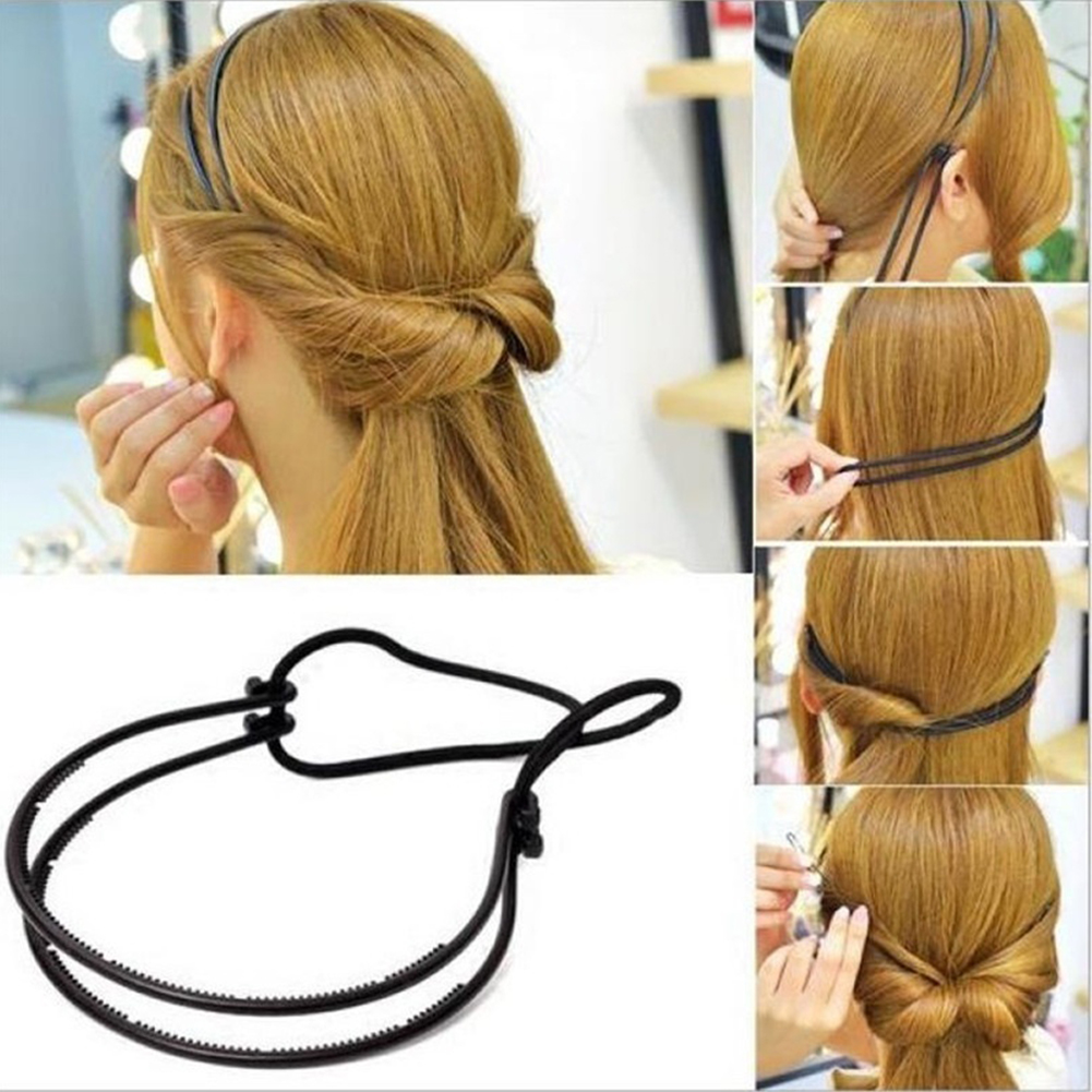 Micelec Lady Hair Hoop Band Headband Elastic Rubber String Easy Hair Styling Making Tool