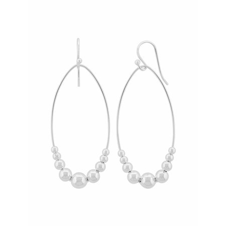 Sterling Silver Marquise Shaped Hoop with Beads Earrings ()