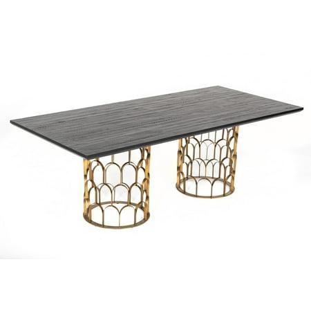 Black Acacia & Antique Brass Dining Table VIG Modrest Natalie Modern