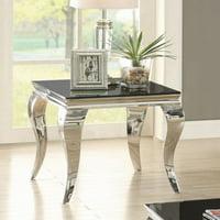 Coaster Furniture Dark Glass Top End Table - Chrome
