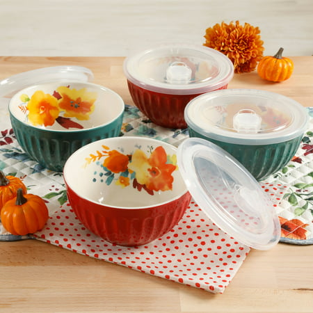 The Pioneer Woman Flea Market 5.75-Inch Latte Bowls with Lids, Set of 4 for $<!---->