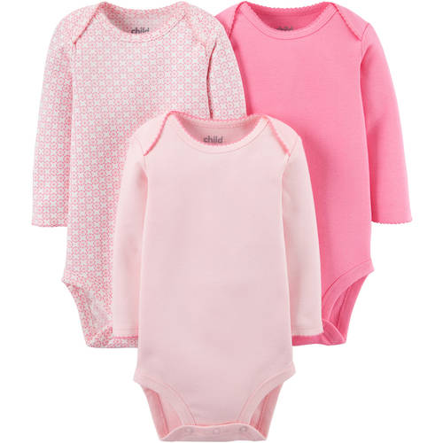 Child Of Mine By Carter's Newborn Baby Girl Long Sleeve Bodysuits, 3-Pack