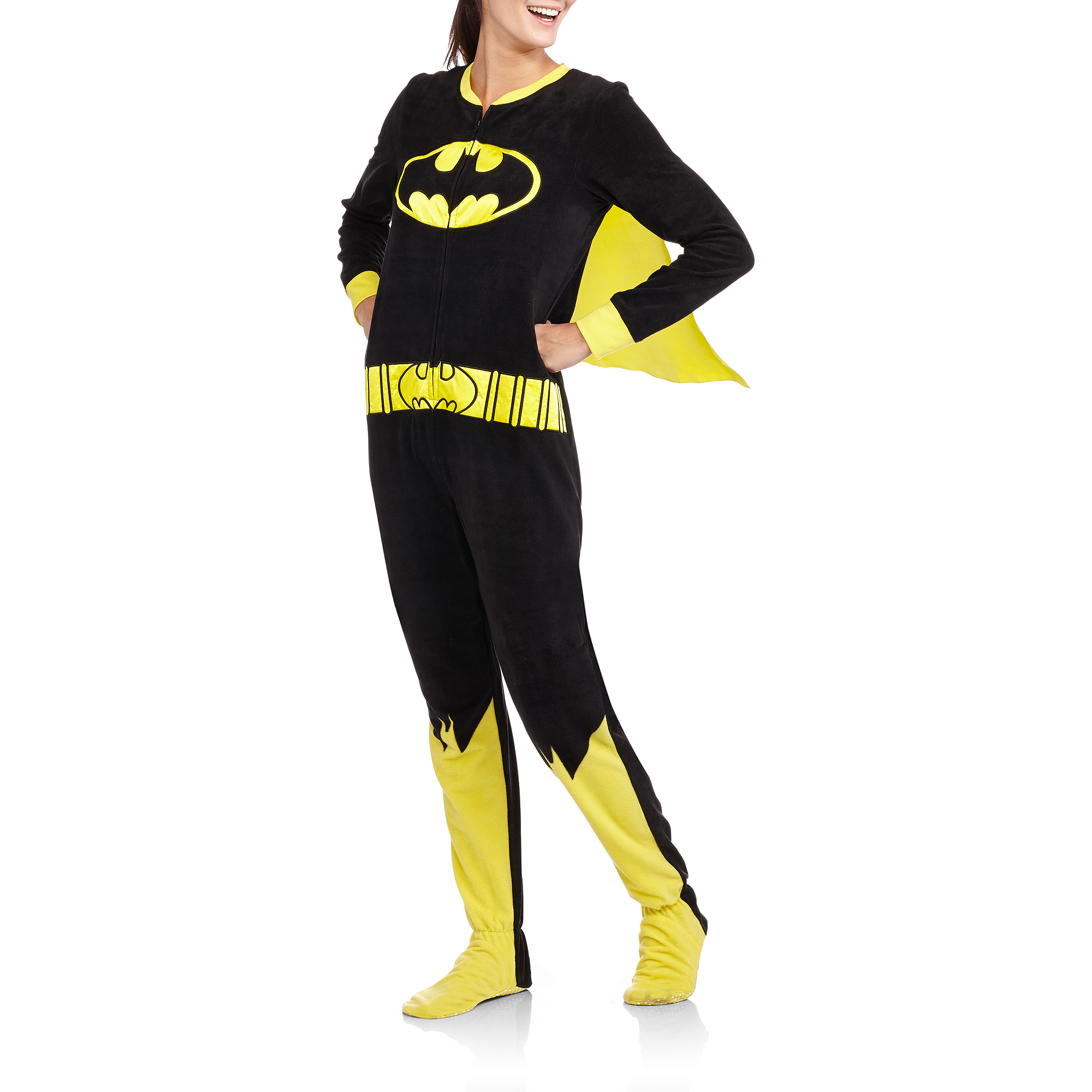Juniors Batgirl One Piece Footed Pajamas with Cape - Walmart.com