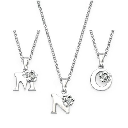 925 Sterling Silver Diamond Accent Initial Pendant Necklace for Girls - Letter M ()