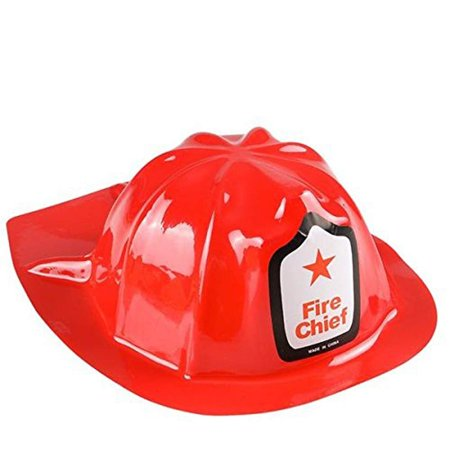 Red Fire Chief Firefighter Hat, 12 Fireman Hat - Cool And Fun Child Size Classic Fireman Hat - Party Favor, Holidays, Halloween Costumes - By Kidsco