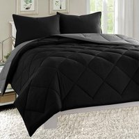 Elegant Comfort Down Alternative Close Out Deal, 3pc Comforter Set-Full/Queen, Black/Gray